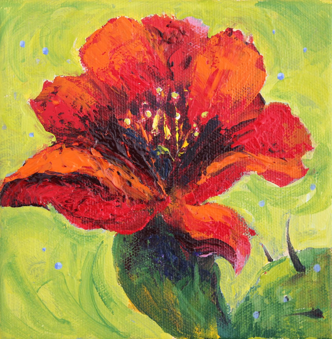 The gallery for acrylic painting flowers canvas for Floral acrylic paintings