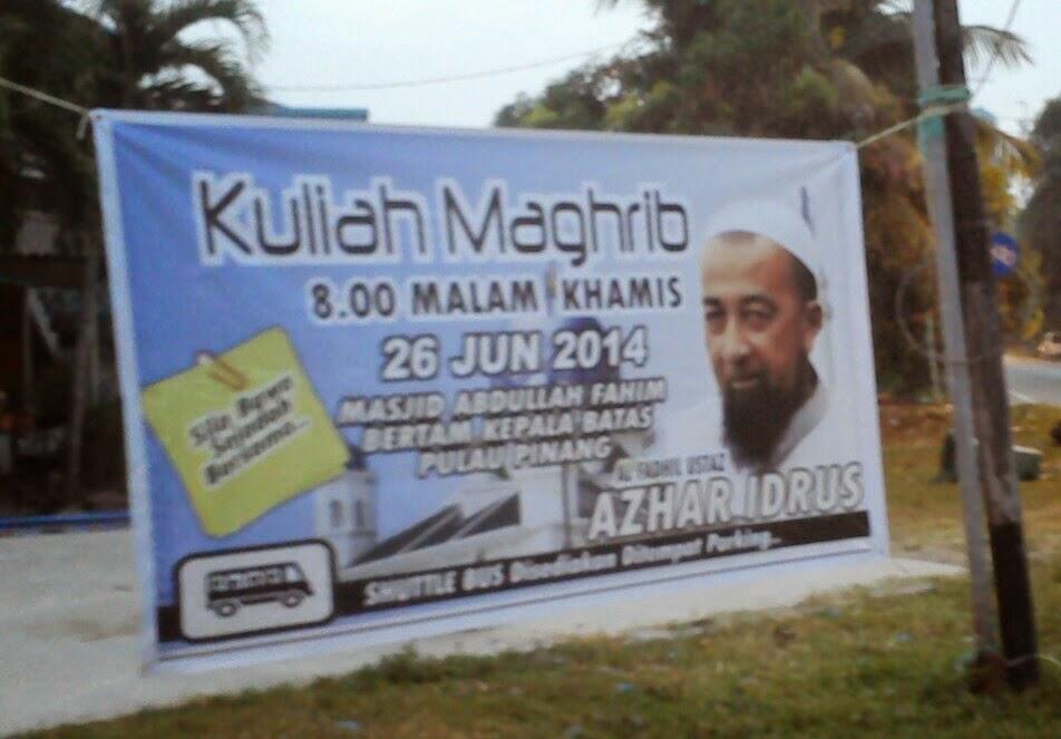 Ustaz Azhar Idrus (UAI) di Masjid Abdullah Fahim, Bertam Kepala Batas, Penang