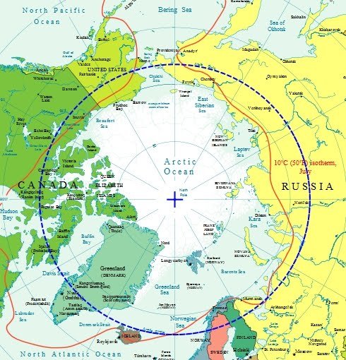map of arctic circle. within the Arctic Circle