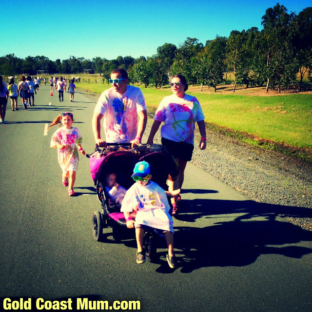 Gold Coast Mum blogger Color Me Rad 5k, twins in Out N About twin pram, Wet N Wild Gold Coast, Paradise Country Gold Coast, double jogger pram, www.goldcoastmum.com