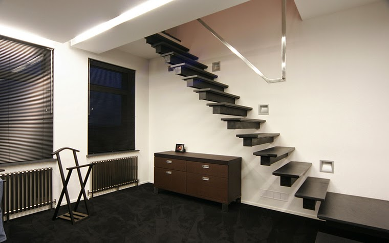floating stairs design without handrails