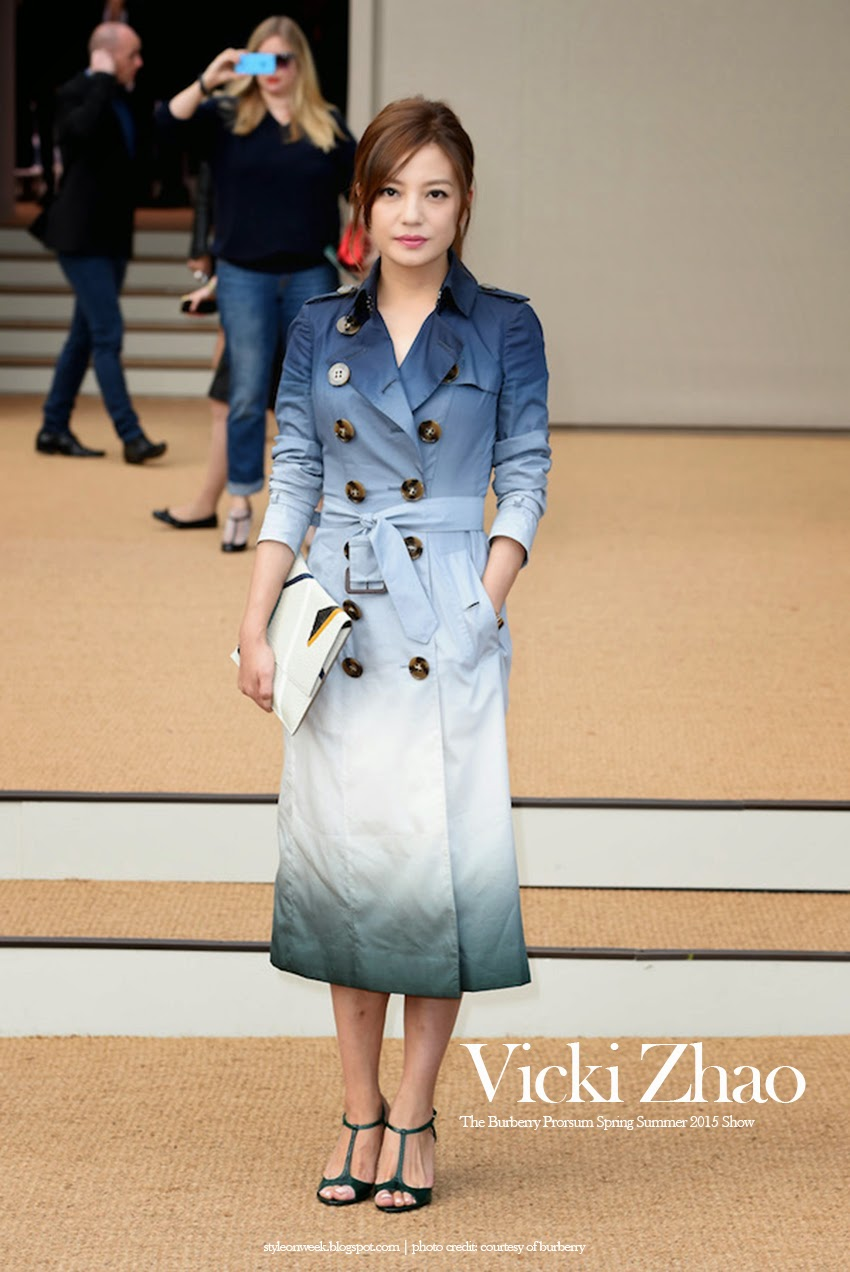 Vicki Zhao Always impressing With Ombre Trench and Oversized Envelope Clutch