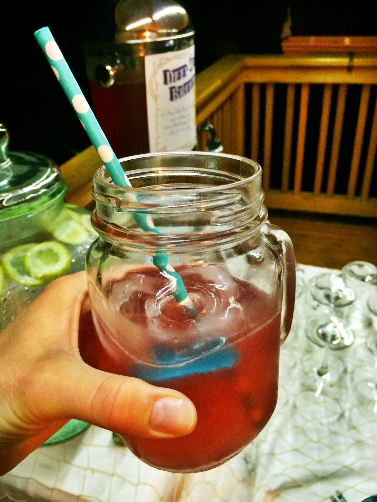 Outdoor Movie Party: Deep Sea Breeze in a mason jar with paper straws