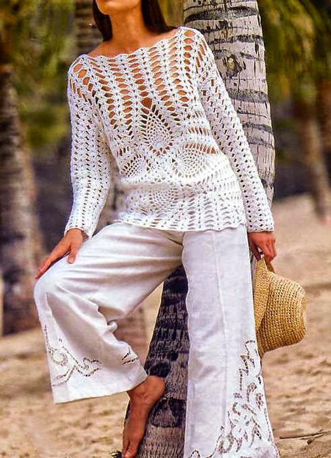 túnica de dama mangas largas con piñas crochet