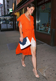 Katie Holmes out for coffee with her mother leggy in an orange dress