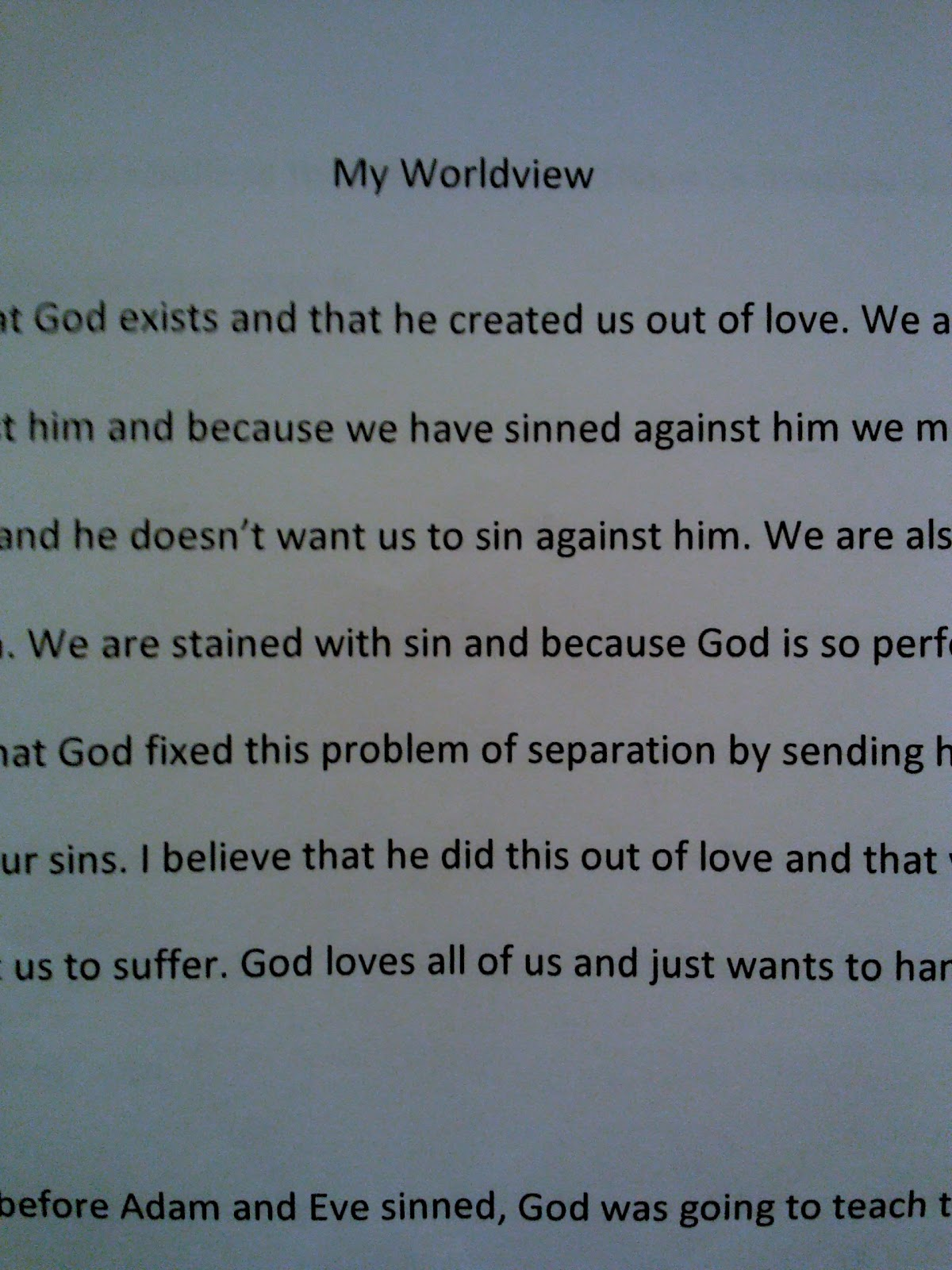 worldview paper essay A world view or worldview is the fundamental cognitive orientation of an  individual or society  participants were asked to read an essay which argued in  support of the theory of evolution, following which the same measure of  a  paper examining the concept of worldview as it relates to and has been used by  christianity.