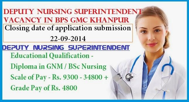 nurses job vacancy  deputy nursing superintendent vacancy