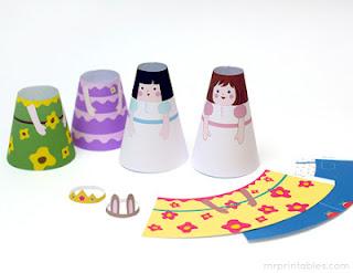Bonecas cone de papel montar