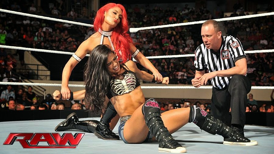 AJ Lee vs Eva-wwe ladies wrestling
