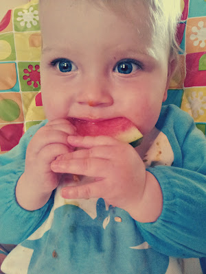 baby eating watermelon, baby led weaning