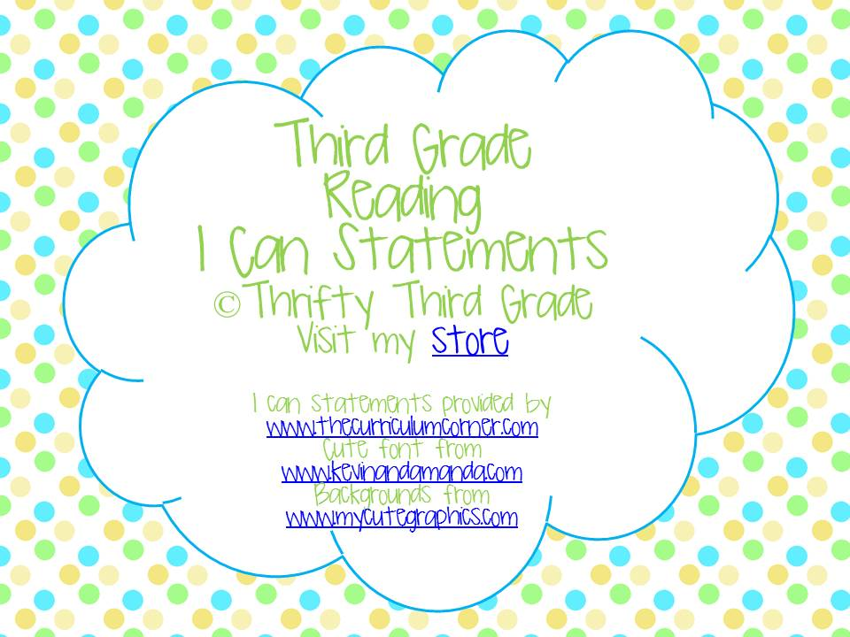 Third Grade I Can Statements | Thrifty in Third Grade