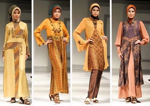 Gambar Model Kebaya Muslim Modern 2015 Warna Coklat Krem