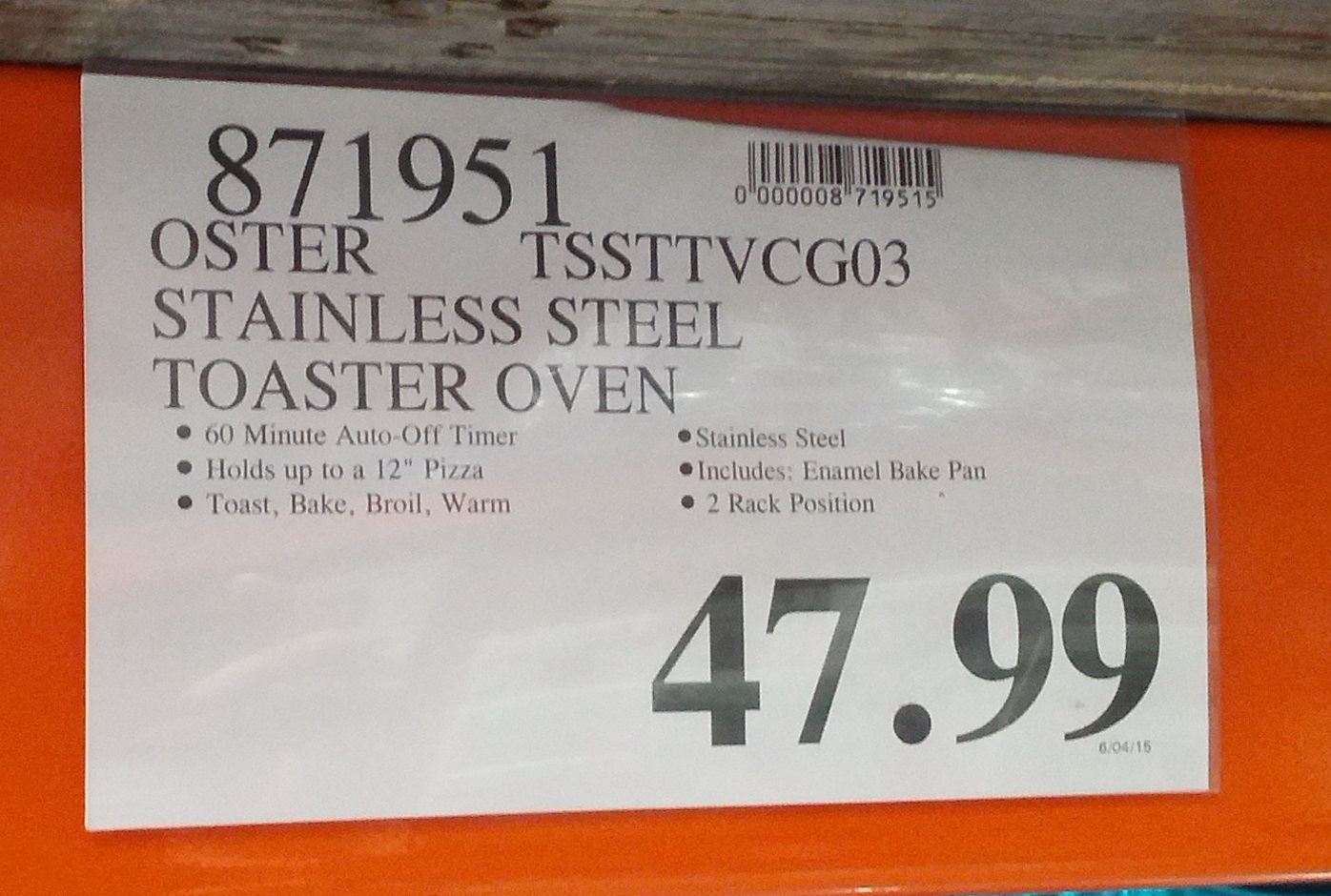 ... Stainless Steel Convection Countertop Oven (TSSTTVCG03) at Costco
