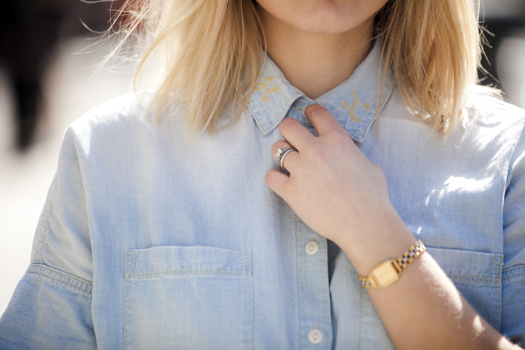 Vintage Seiko watch, Madewell monogrammed chambray shirt
