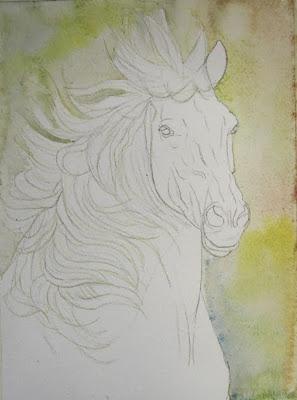 peindre cheval aquarelle
