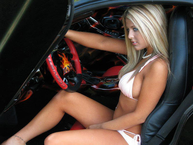 hot girl in car