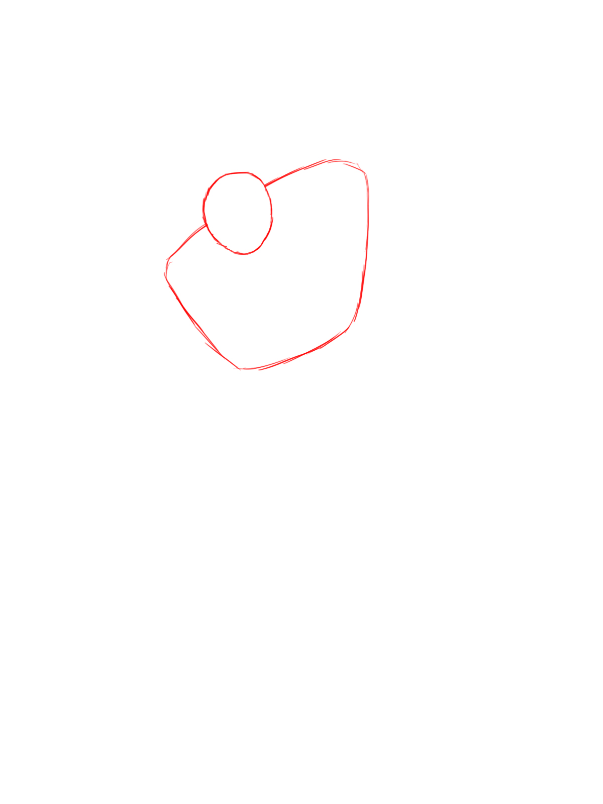 The First Step To Drawing Goku Is To Draw A Small Circle For His Head, With  A Larger Rectangle Beneath It This Will Be His Head And Chest Respectively