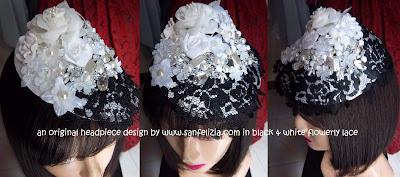 Sanfelizia Jewellery: Wedding Headpiece in Black and White Flowerly