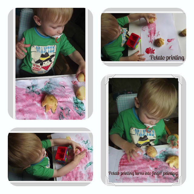 potato printing, finger painting, fun, on a budget, messy play, toddler, rainy day, activities