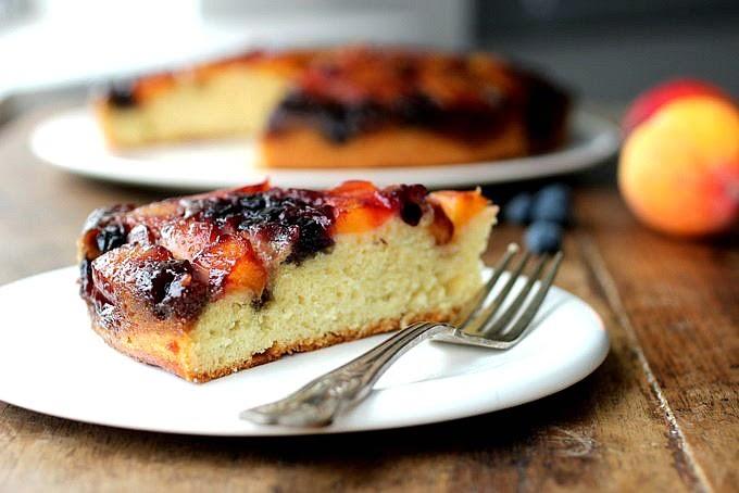 Peach Blueberry Upside Down Cake