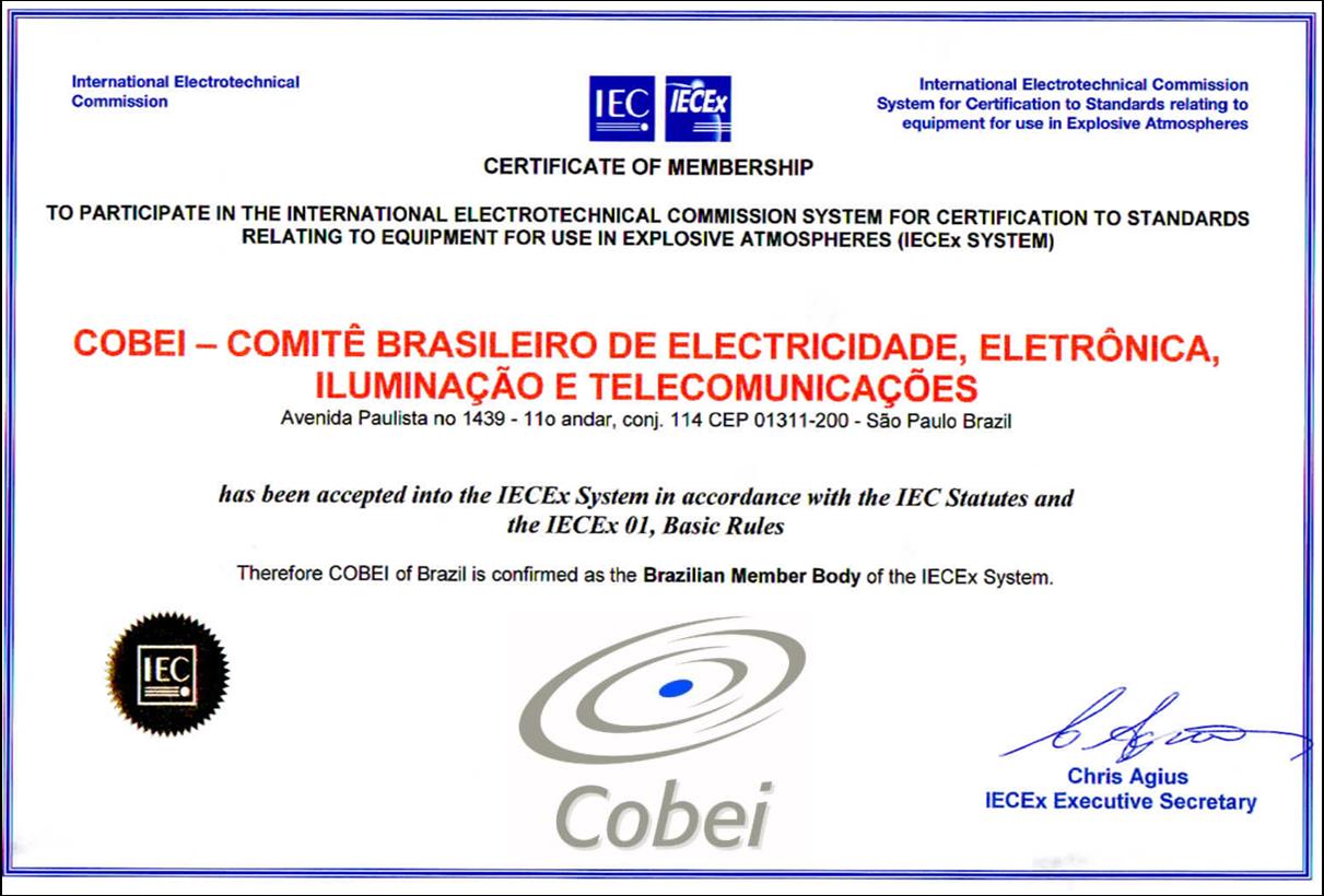 IECEx - COBEI - Certificate of Membership - Certificado de Afiliação.