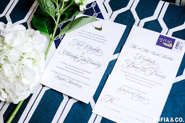 Navy and White Nantucket Wedding Invitation