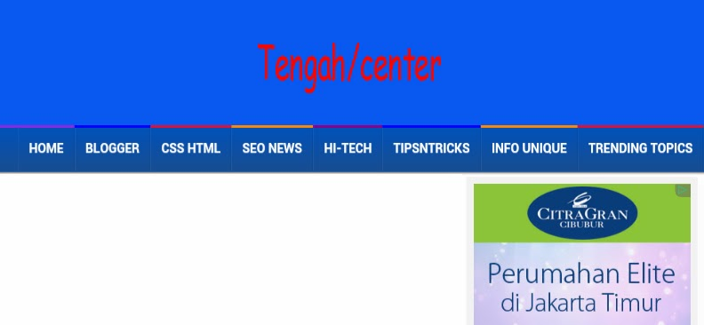 Membuat menu header tetap di tengah blog ngulakulik for Html header menu templates