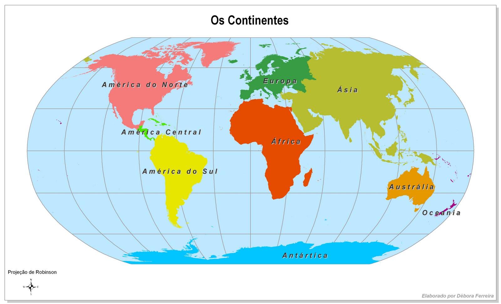 Mapa Mundi Con Los Continentes