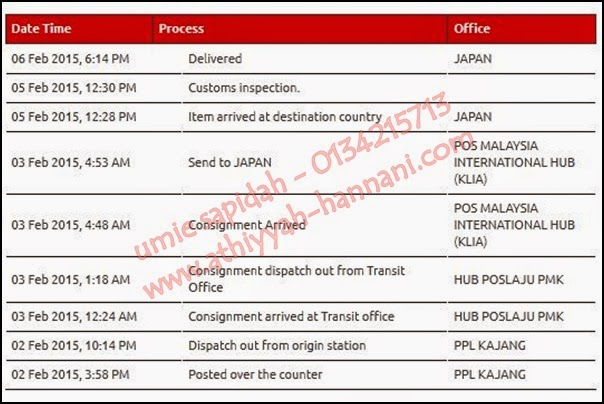 5 hari proses pengeposan produk shaklee ke Jepun menggunakan pos laju