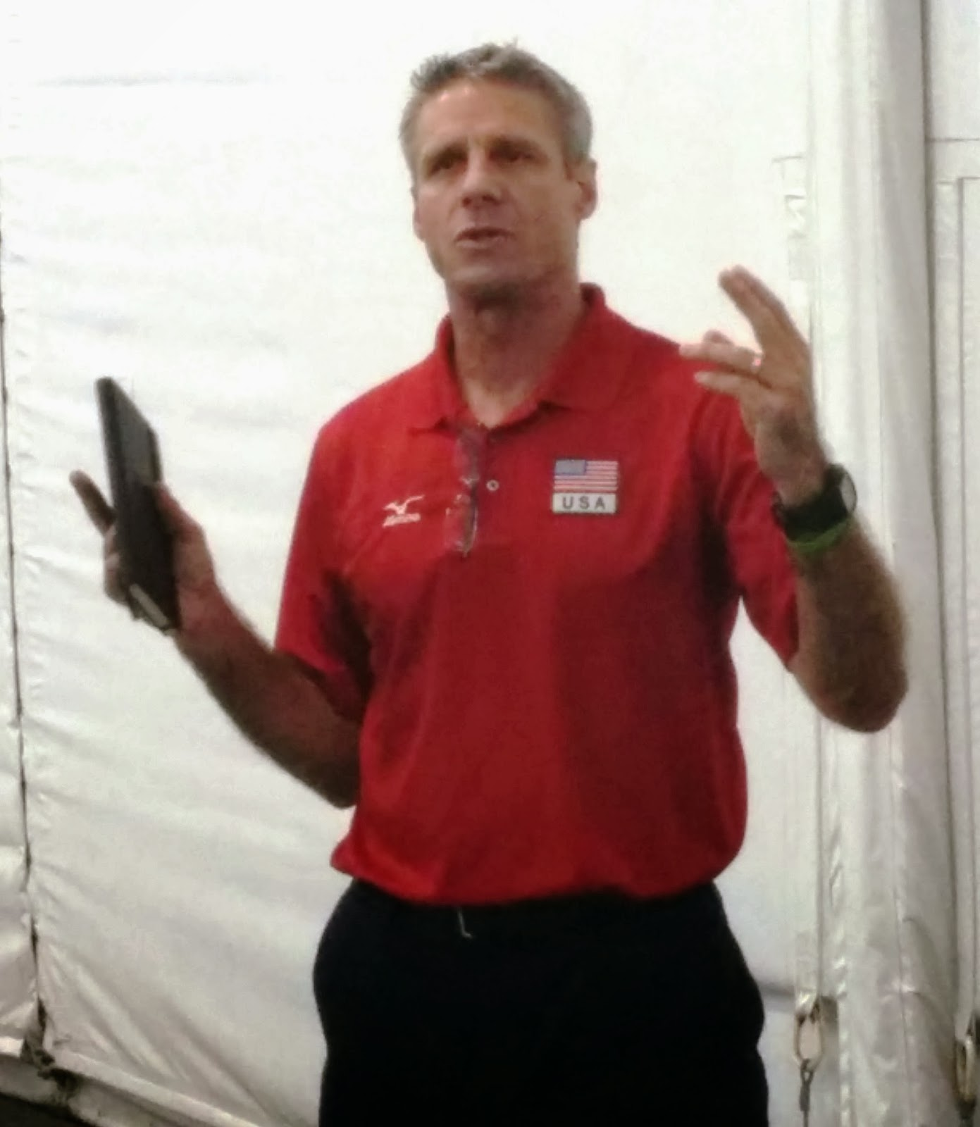 head usa coach karch kiraly held a mini coachs clinic before the festivities began he was deliberate in his speech and presentation and thoughtful in