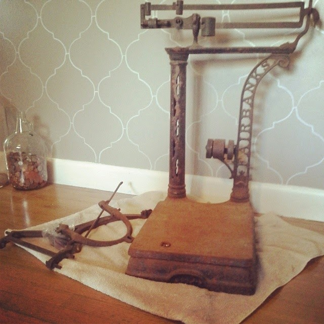 #thriftscorethursday Week 12 Features | Instagram user: sandpaperglue shows off this Antique Fairbanks Platform Scale