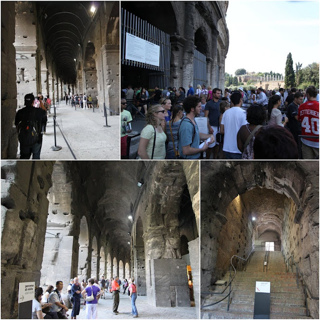 Long queues at the ticket entrance of the Roman Colosseum in Rome, Italy