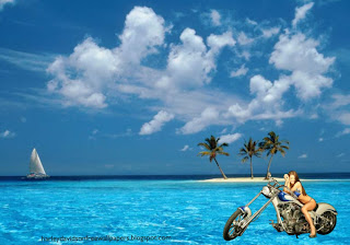 Harley Davidson Babes Wallpapers Bikes Beautiful Babe in Blue Island Desktop Wallpaper