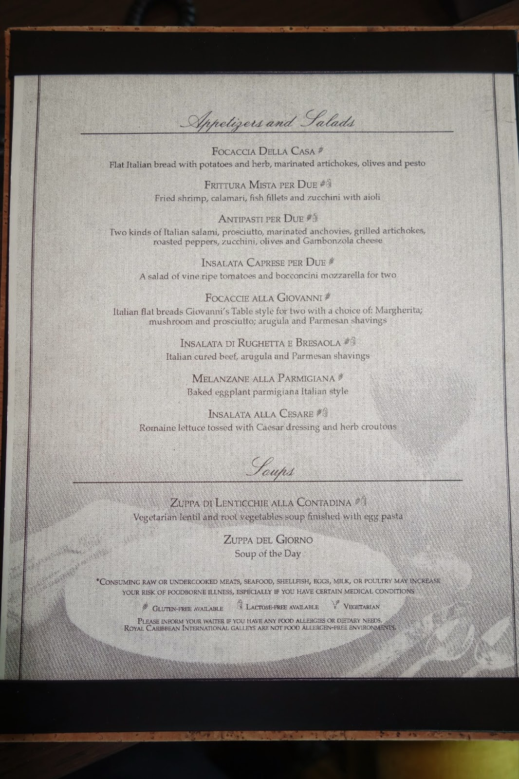Guitar 123 Singapore Food And Travel Blog Adventure Of The Seas Giovanni S Table Menus