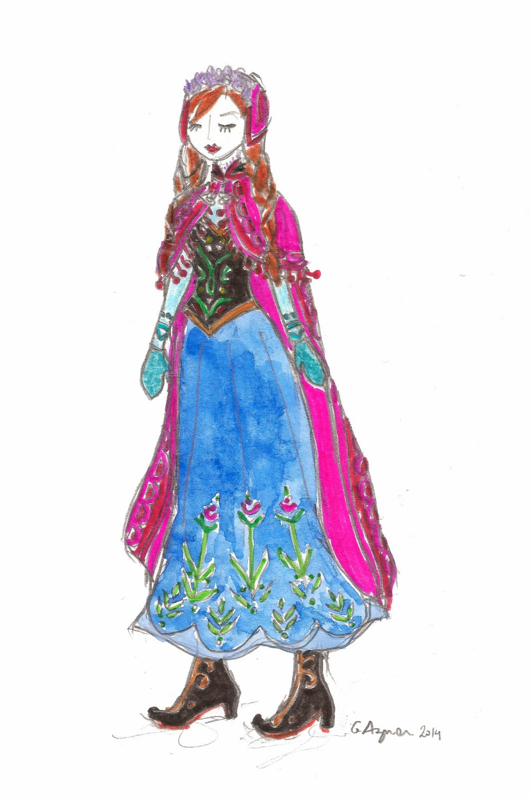 Le blog de gabrielle aznar fan art anna et elsa la - Anna la reine des neige ...