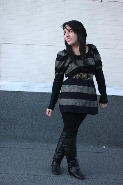 Striped Sweater Dress and Vintage Belt