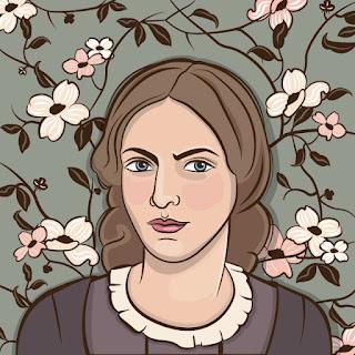 Caricatura de un retrato de Charlotte Brontë