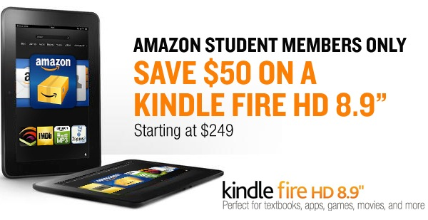 $50 discount off Kindle Fire HD 8.9″ for Amazon Student members with Prime