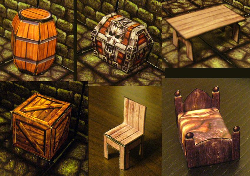 Fantasy Paper Miniature Models Hero Quest Style Furniture