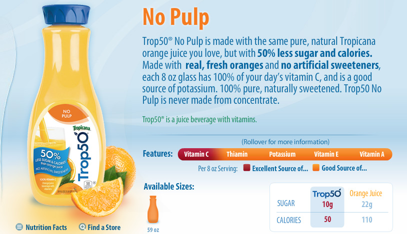 PRODUCT: Trop50 Orange Juice Beverage (1 point+)