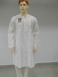 Lucknowi Chikan  Men Pure White Kurta Paijama
