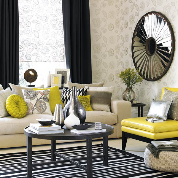 Grey mustard living room for Mustard living room ideas