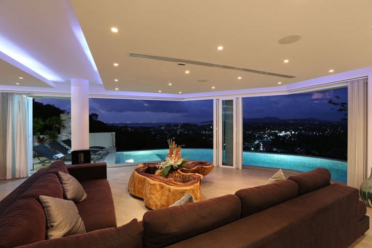 Night living room views in Modern Villa Beyond in Phuket