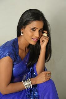 Prashanti lovely new actress in Sizzling Shining Transparent Blue Saree and Choli