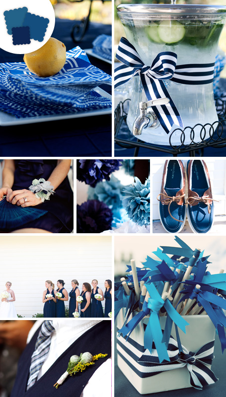 Look sophisticated in blue satin shoes with a rhinestone buckle