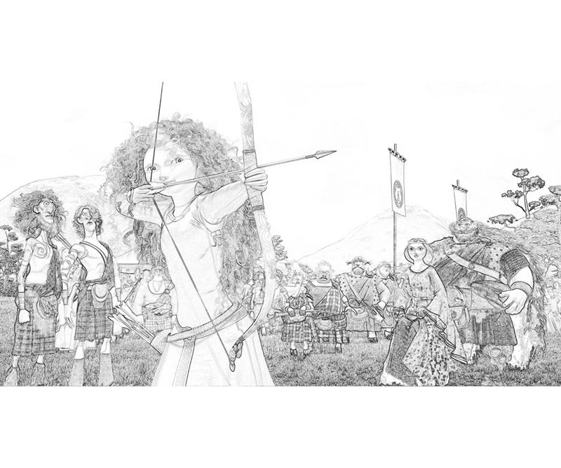 Disney Pixar Brave Merida Family Coloring Pages title=