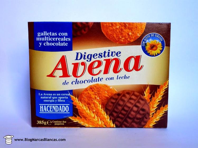 Galletas digestive avena con chocolate con leche Hacendado de Mercadona.