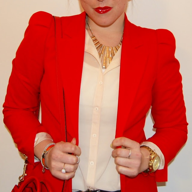 Red Zara blazer, red Celine Nano, Forever 21 blouse and necklace