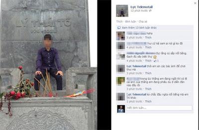 Phẫn nộ nam sinh ngồi lên tượng đài Vua Lý Thái Tổ