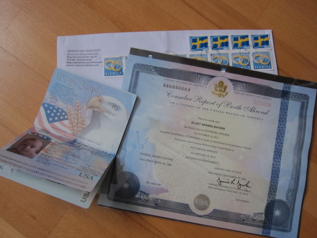 Elliot is officially a us citizen by mm snyders in sweden check out the picture on the passport and also his birth certificate is consular report of birth abroad cool aiddatafo Gallery